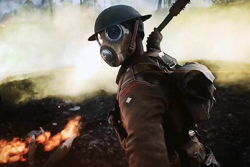 "Mit Gasmaske in ""Battlefield 1"". (Foto: Screenshot)"