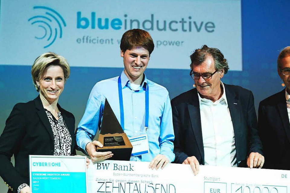 Das Freiburger Start Up blueindictive  gewann den Cyber One Award 2017 in der Kategorie Industrielle Technologien. (Foto: Miroslav Dakov)