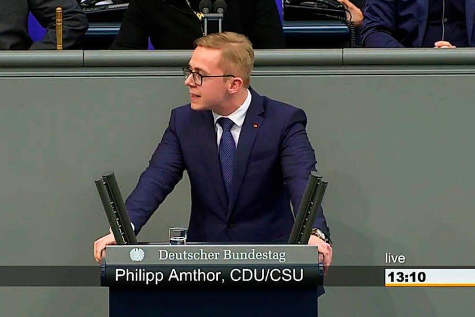 Philipp Amthor im Bundestag (Foto: Screenshot)