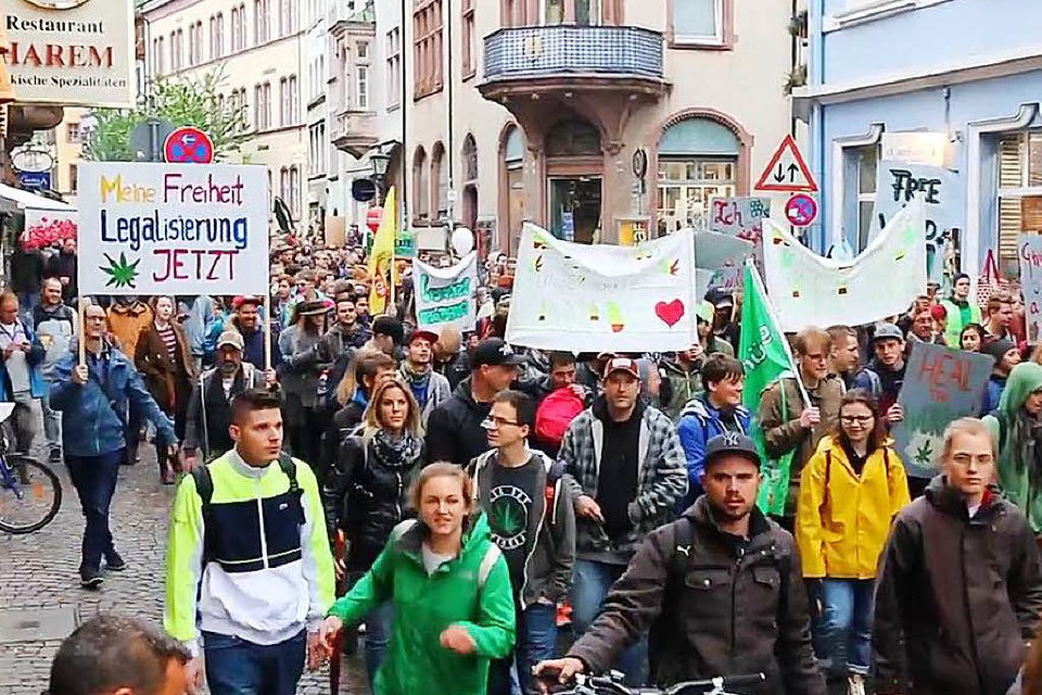 Beim Global Marijuana March in Freiburg 2017. (Foto: Felix Klingel)