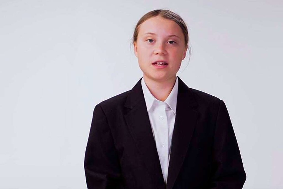Greta Thunberg seriös (Foto: Screenshot)