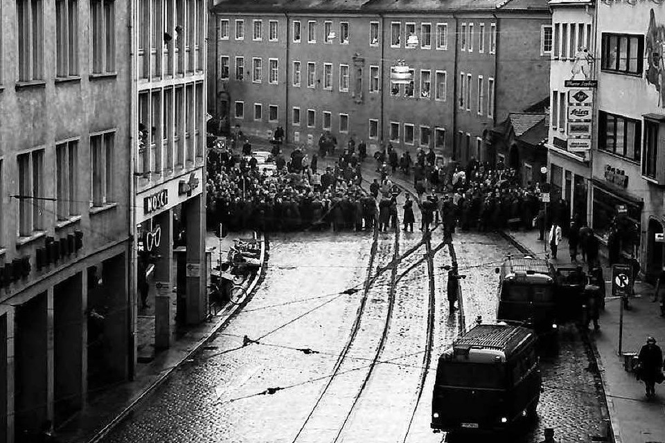 Studentendemo in Freiburg, 1968 (Foto: Willy Pragher (Staatsarchiv Freiburg)